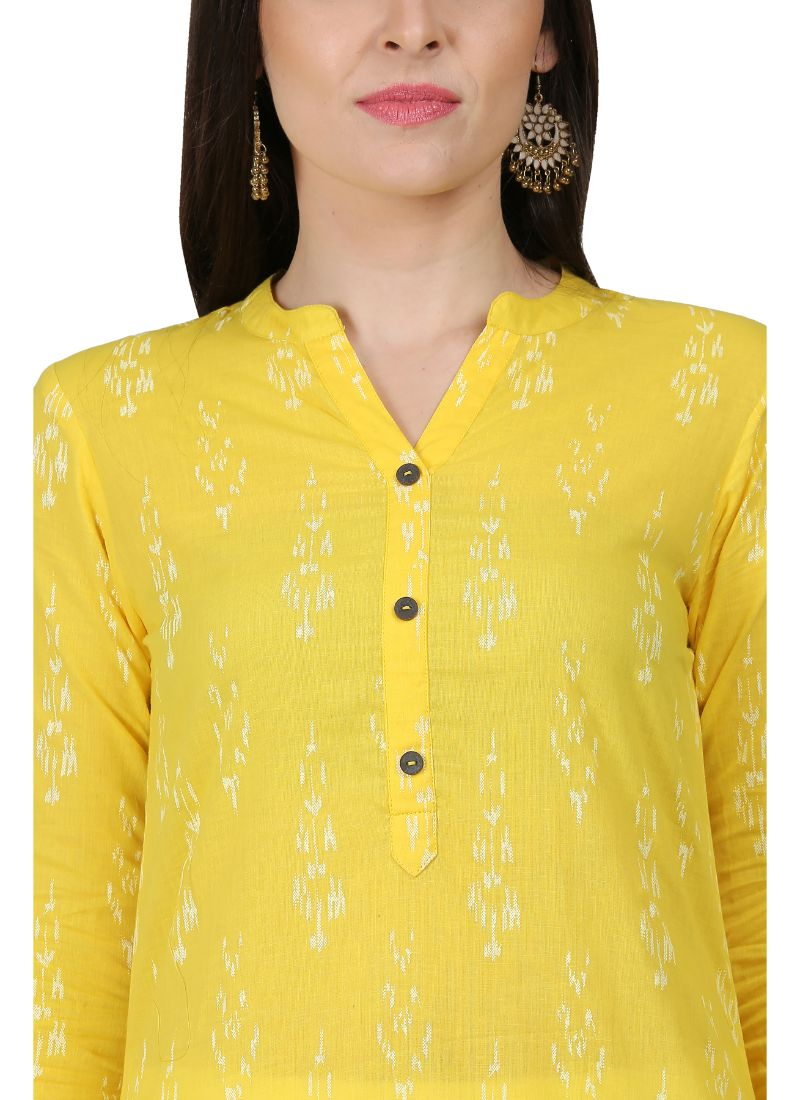 Yellow Color Cotton Kurti