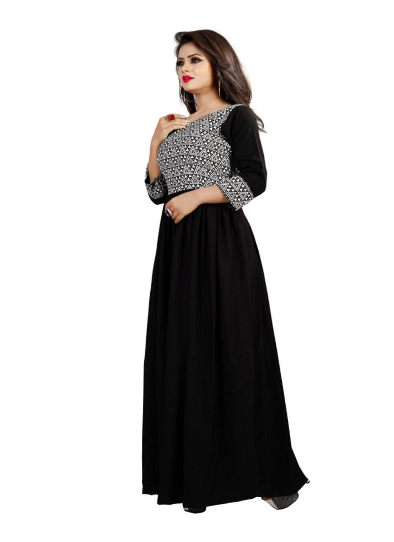 Black Color American Crepe Gown