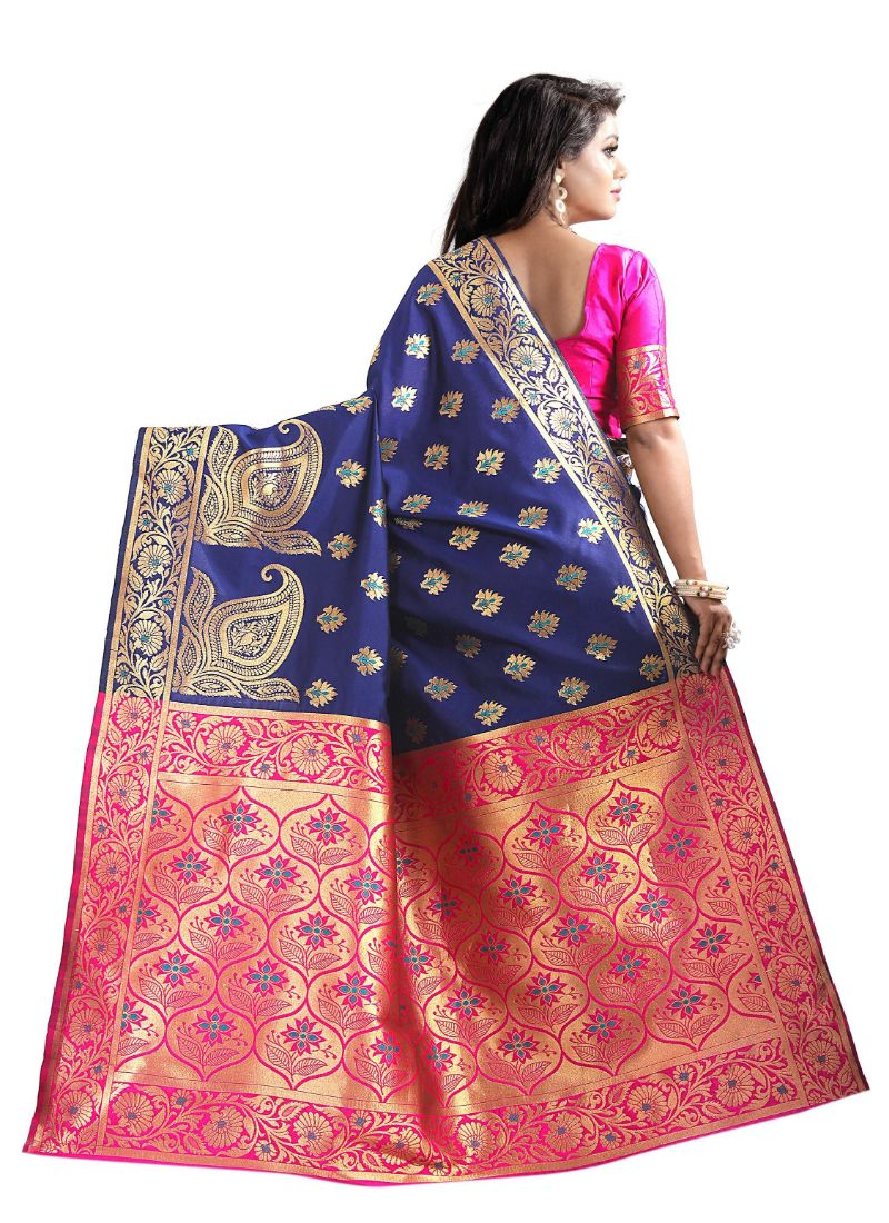 Multi-Coloured Color Cotton Silk Saree with Blouse