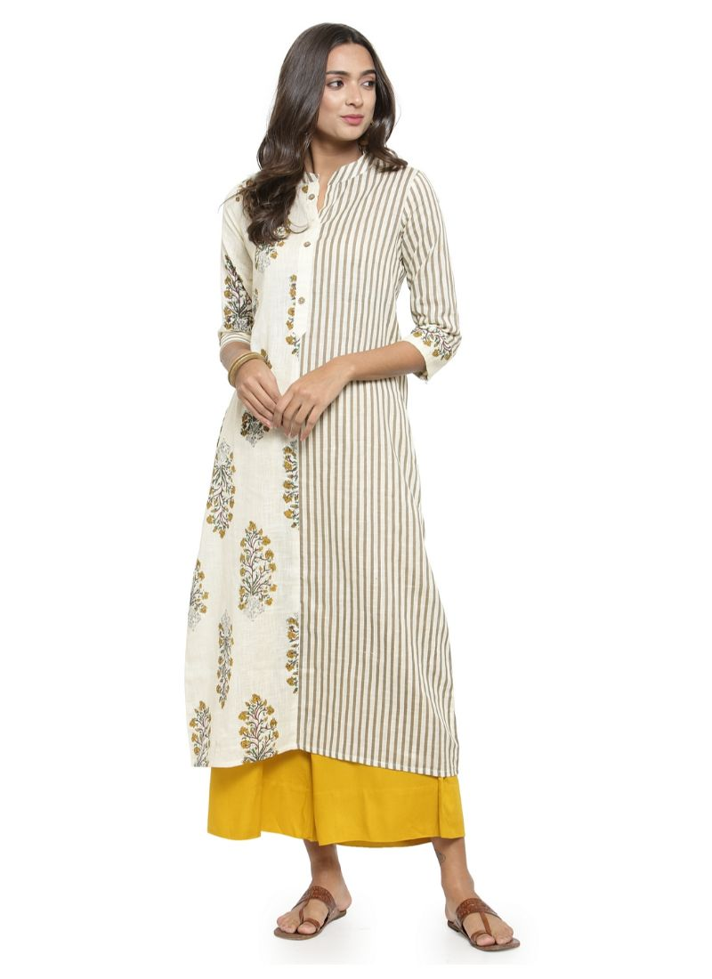 Offwhite Color Cotton Flex Kurti