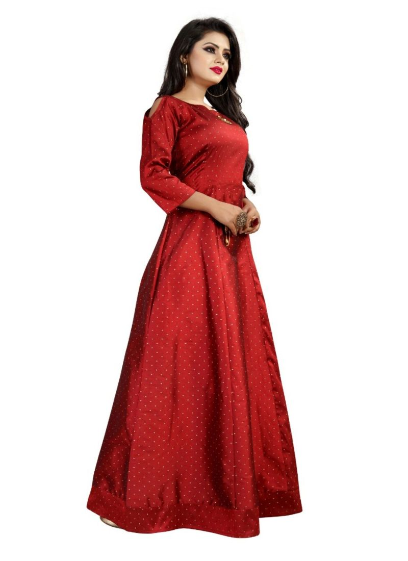 Red Color Tapeta Buti Gown