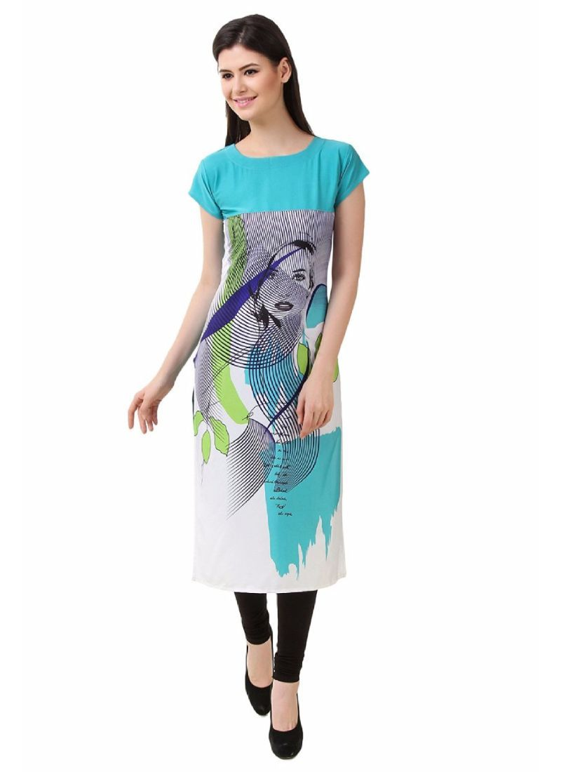 Sky Blue And Grey Color Crepe Kurti