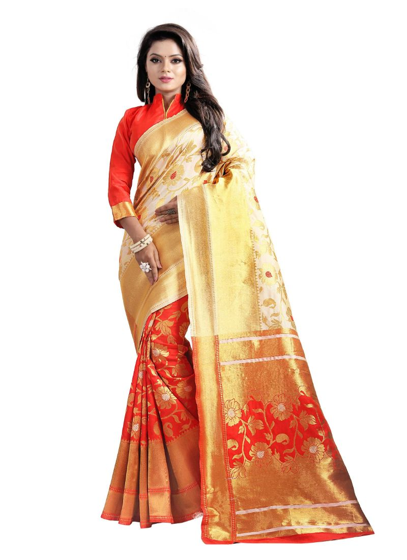 Cream Color Cotton Silk Saree with Blouse
