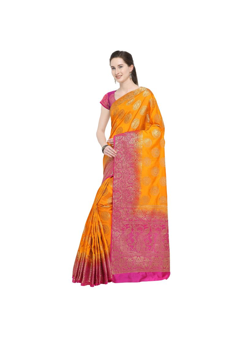 Yellow Color Silk  Saree with Blouse