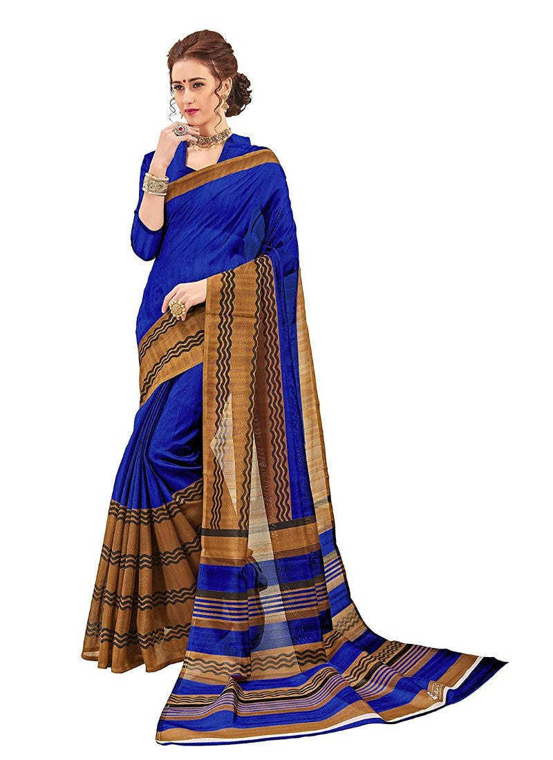 Blue Color Printed Bhagalpuri Silk Saree With Blouse
