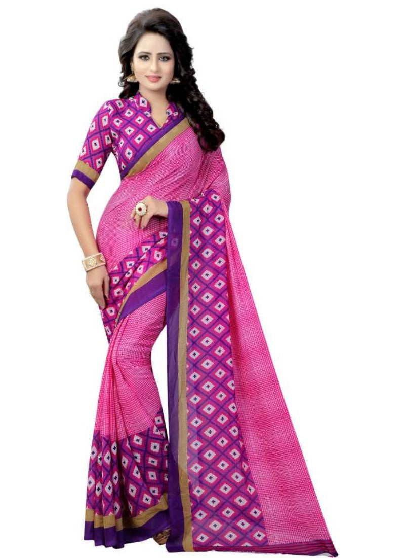 Pink Color Printed Georgette Saree With Blouse