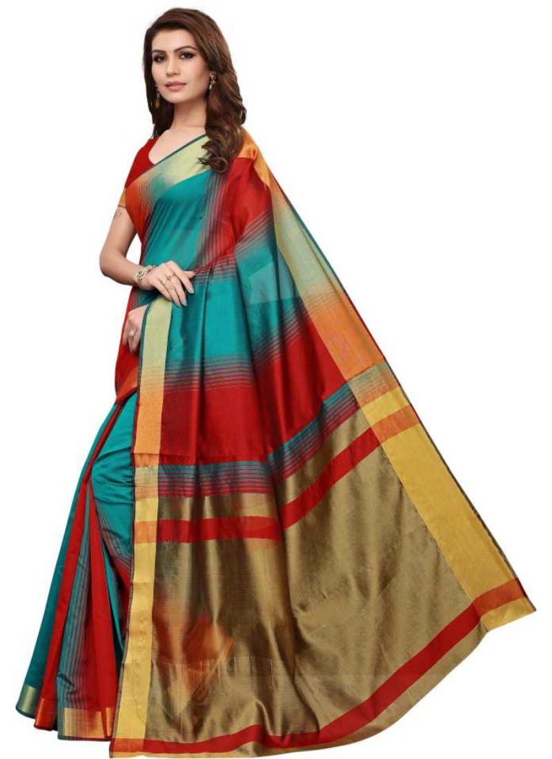 Red And Green Color Printed Cotton Silk Saree With Blouse
