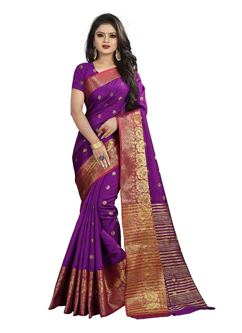 Purple Color Weaving Cotton Silk Saree With Blouse