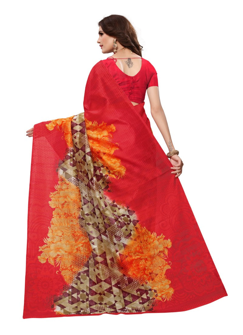 Red Color Printed Bhagalpuri Silk Saree With Blouse