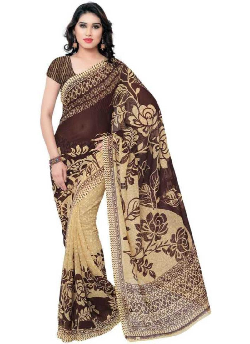 Printed Faux Georgette Coffee Color Saree