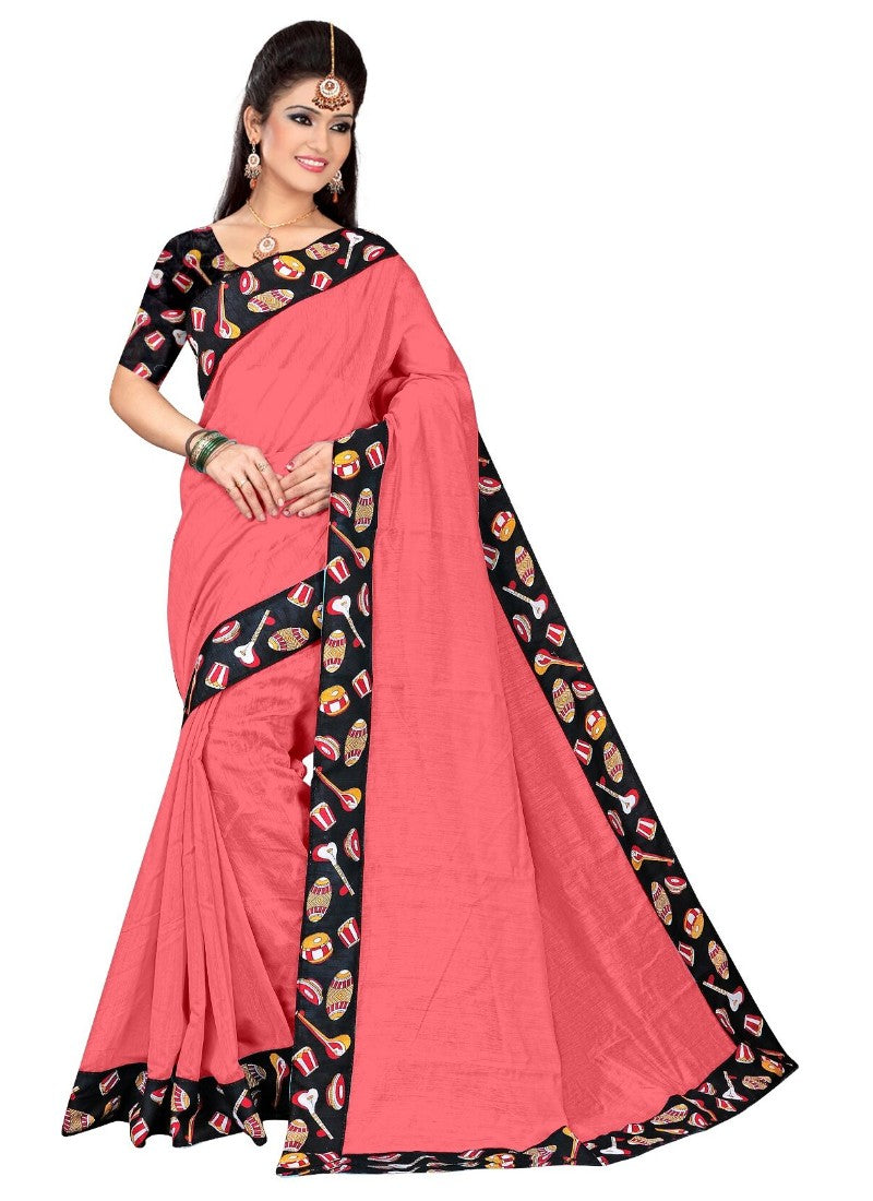 Pink Color Printed Chanderi Silk Saree With Blouse