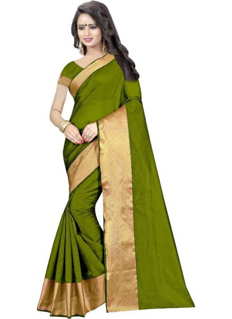 Mehandi Color Printed Cotton Polyester Silk Saree With Blouse