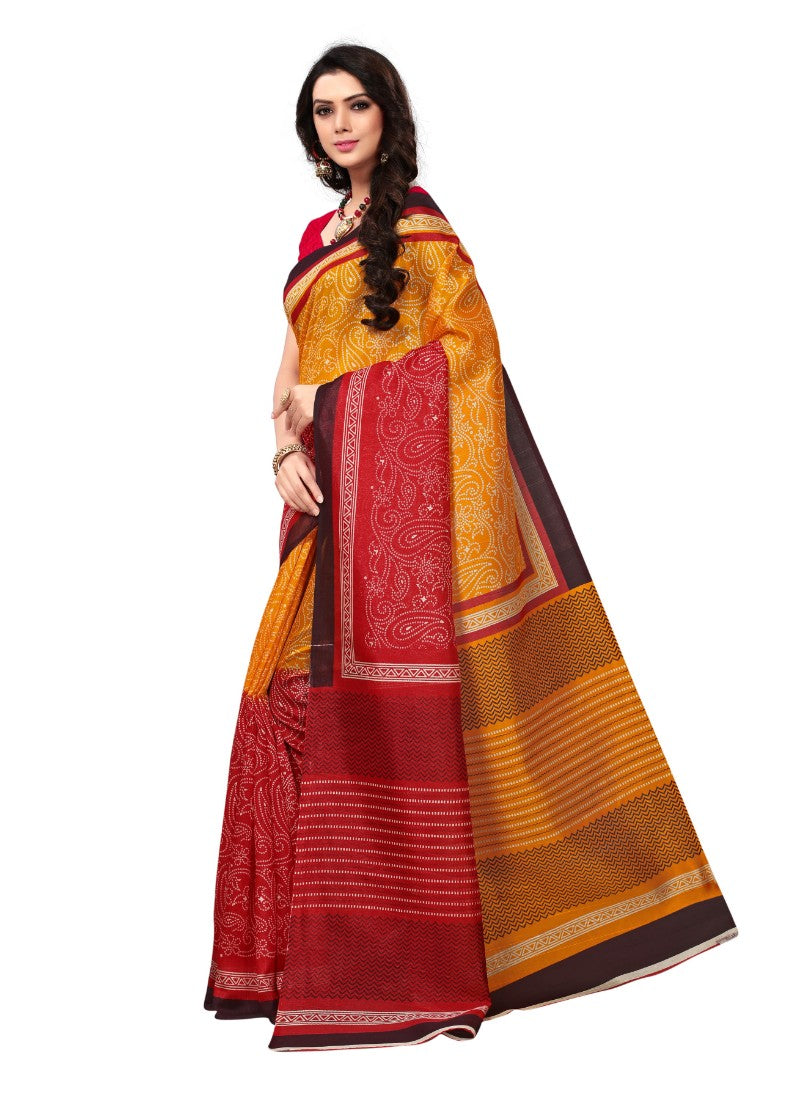 Red And Orange Color Printed Bhagalpuri Silk Saree With Blouse