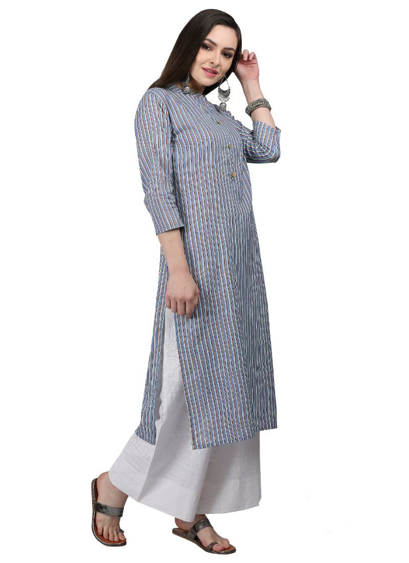 Light Bulue Color Cotton Kurti