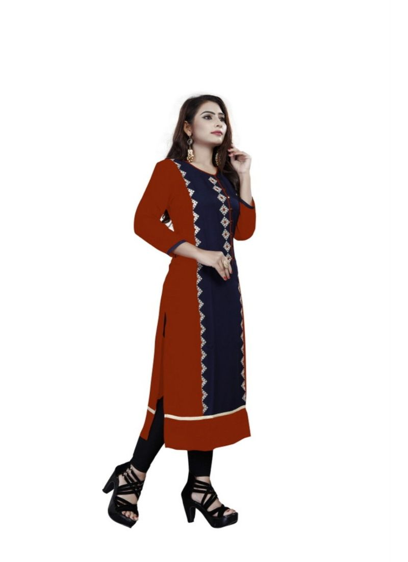 Red And Blue Color Rayon Kurti