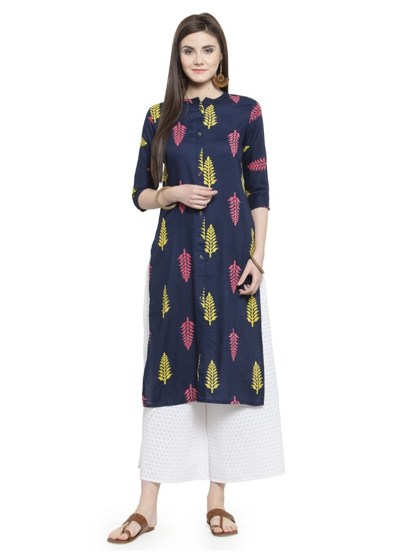 Navy Blue Color Rayon Kurti