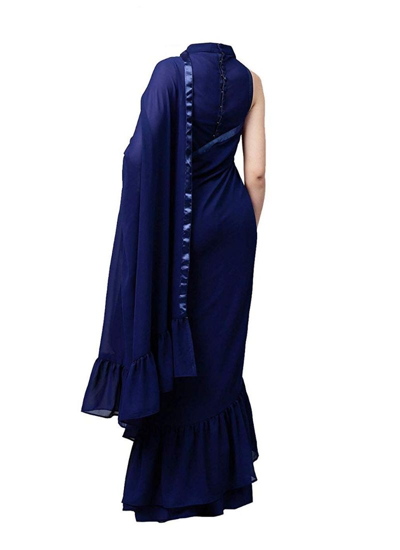 Navy Blue Color Vichitra Silk  Saree with Blouse