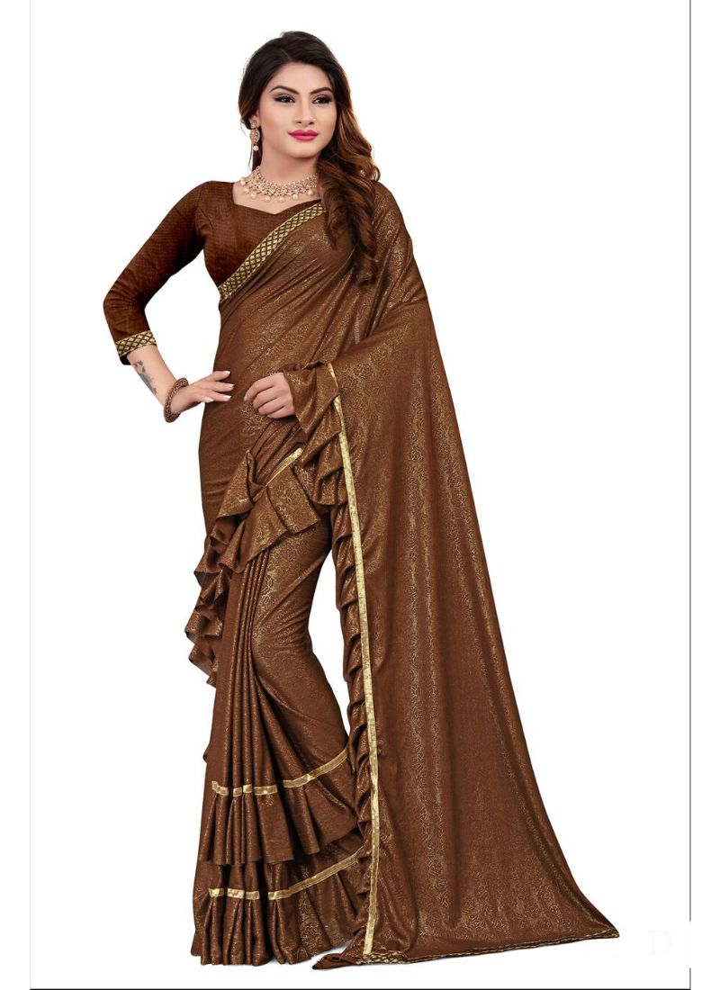 Brown Color Lycra Saree with Blouse