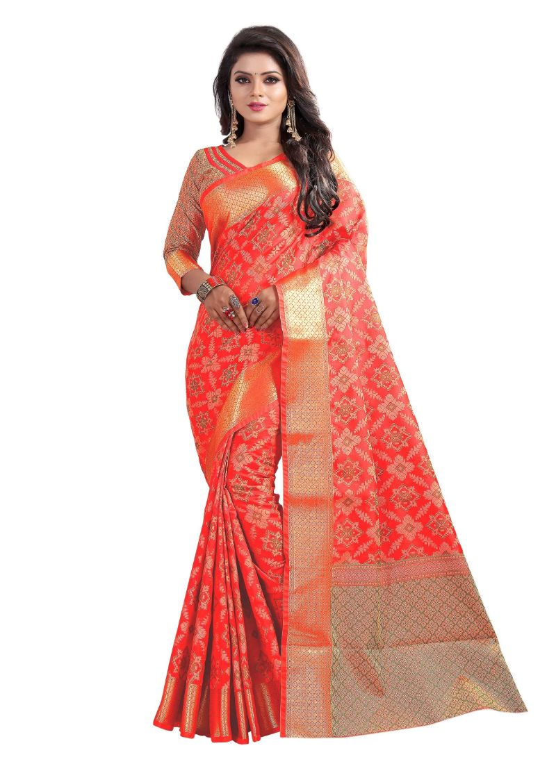 Red Color Cotton Silk Saree with Blouse