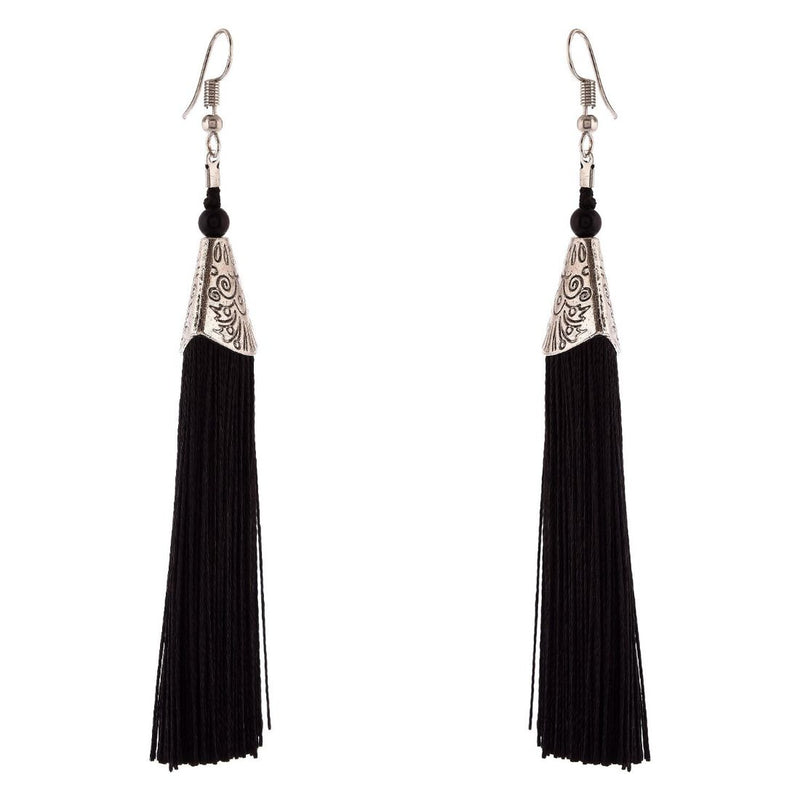 Generic Women's Brass Earrings (Black , free Size)