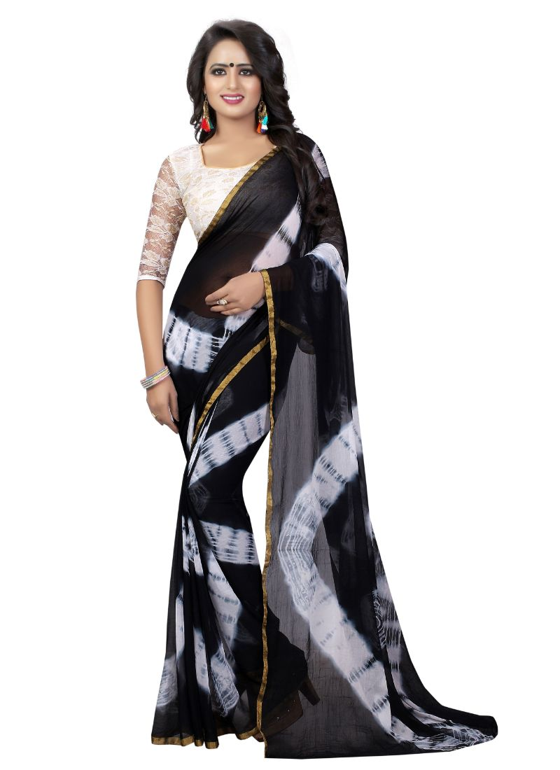 B_25 Women's Chiffon Saree (Black, 5.5-6mtrs)