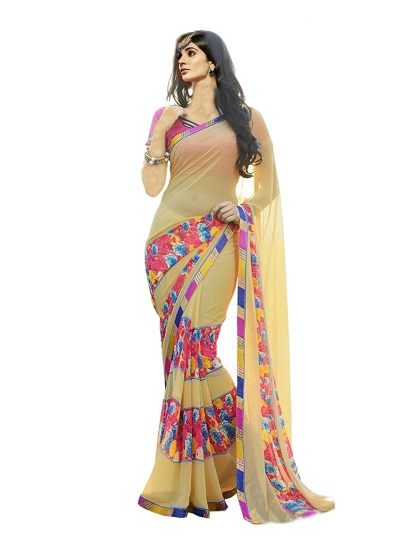 B_25 Women's Georgette Saree (Beige, 5.5-6mtrs)