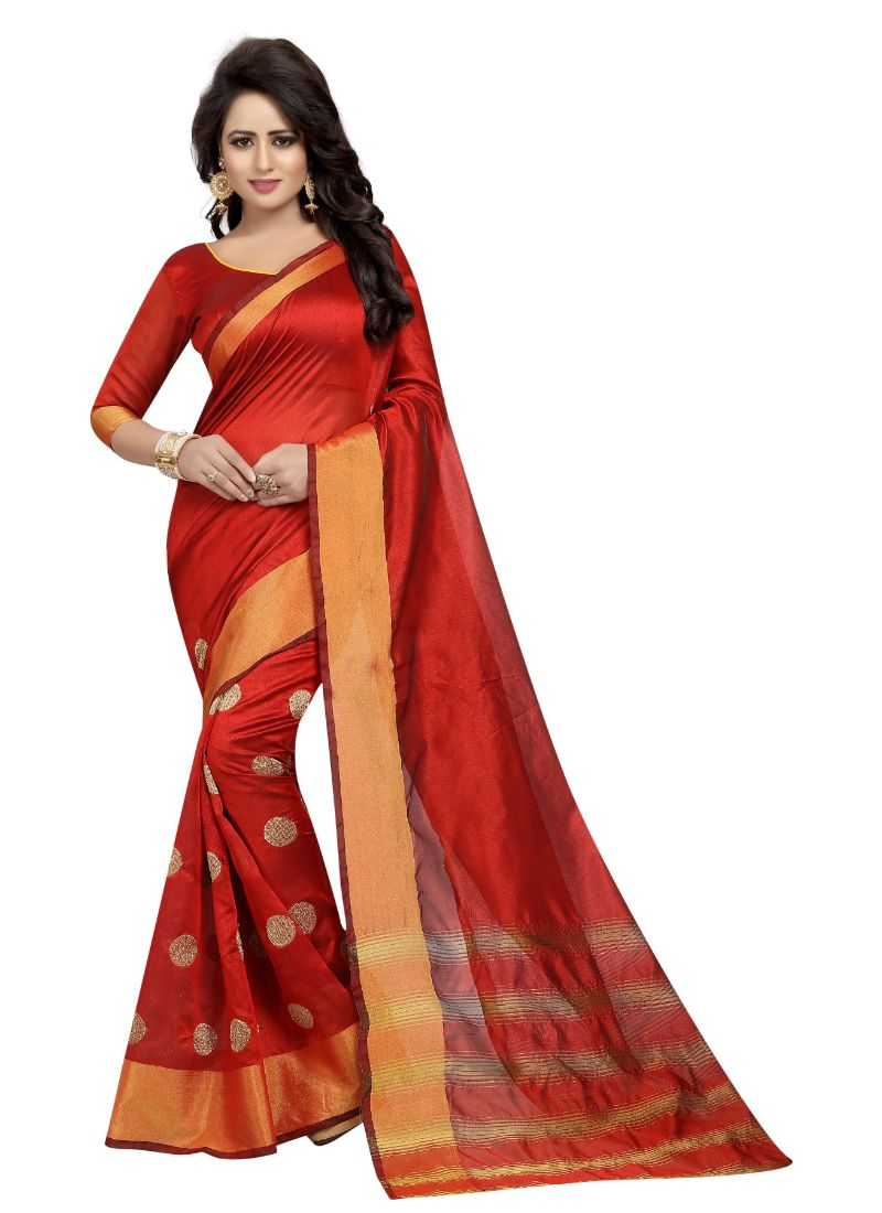 B_25 Women's Cotton Polyester Silk Saree (Red, 5.5-6mtrs)