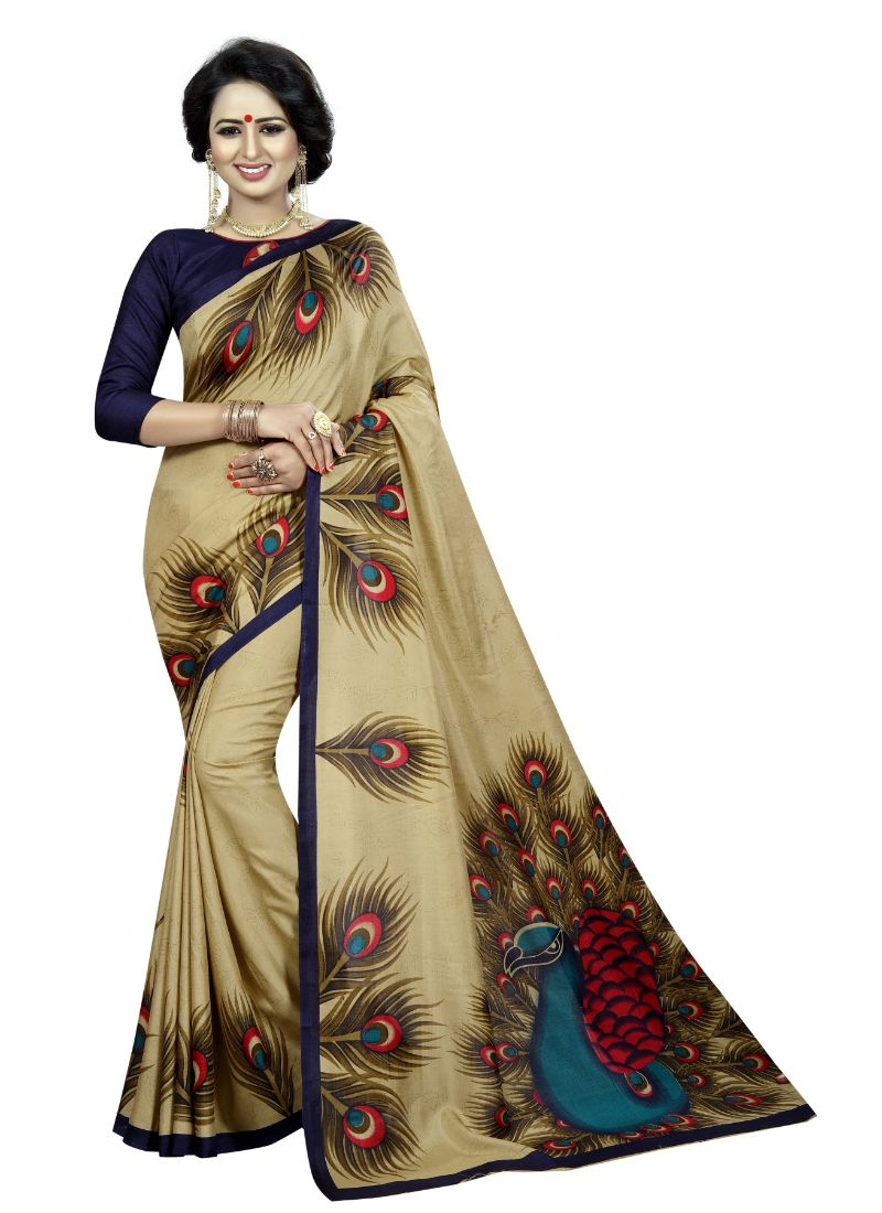 B_25 Women's Silk Saree (Gold, 5.5-6mtrs)