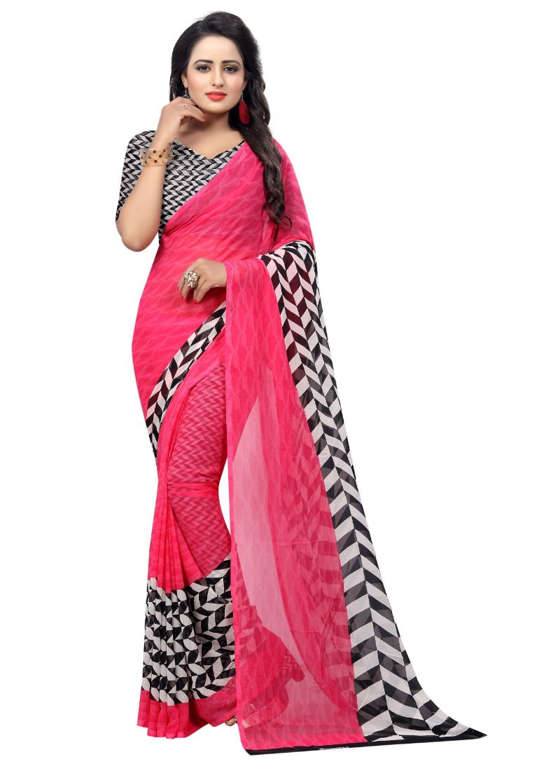 B_25 Women's Georgette Saree (Pink, 5.5-6mtrs)
