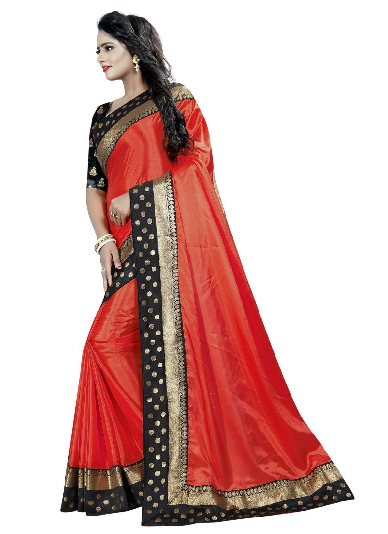 B_25 Women's Paper Silk Saree (Red And Black, 5.5-6mtrs)