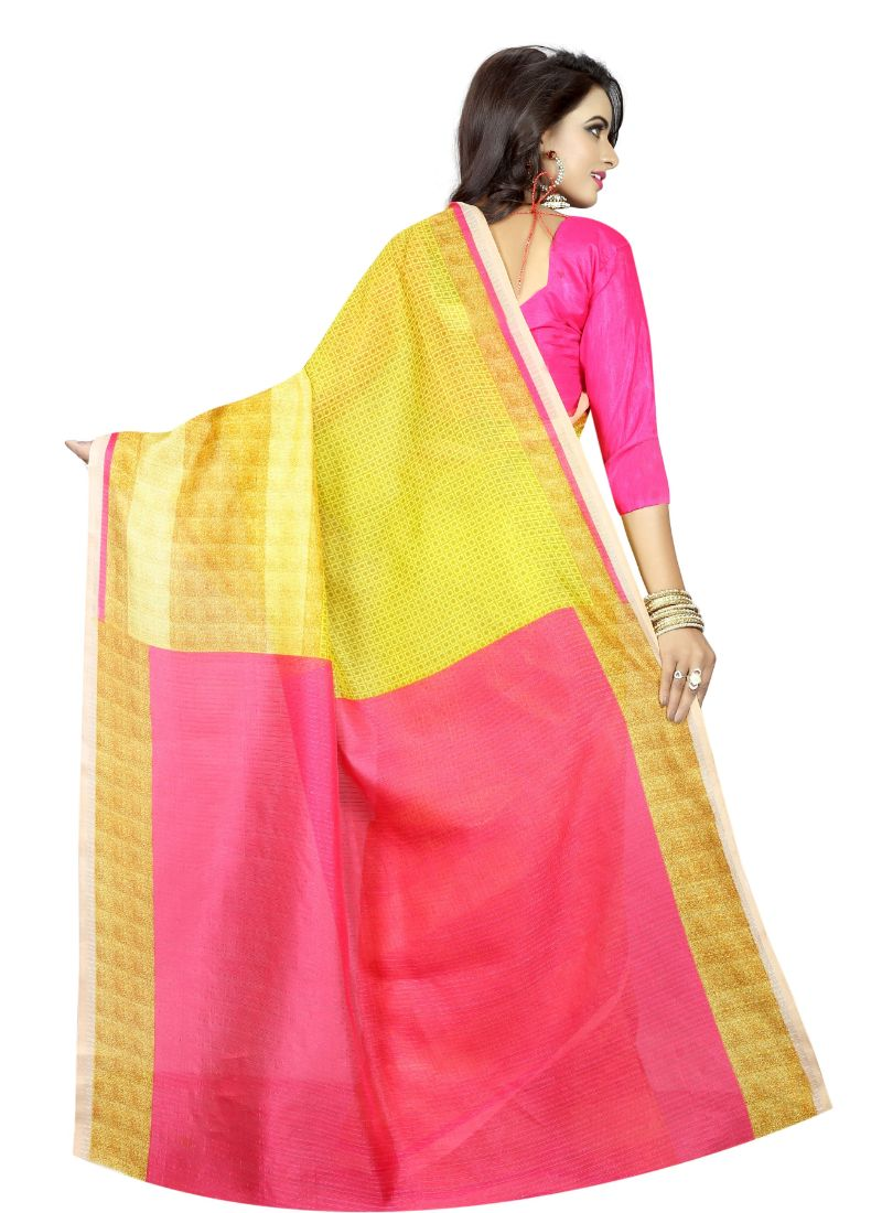 B_25 Women's Silk Saree (Yellow And Pink, 5.5-6mtrs)