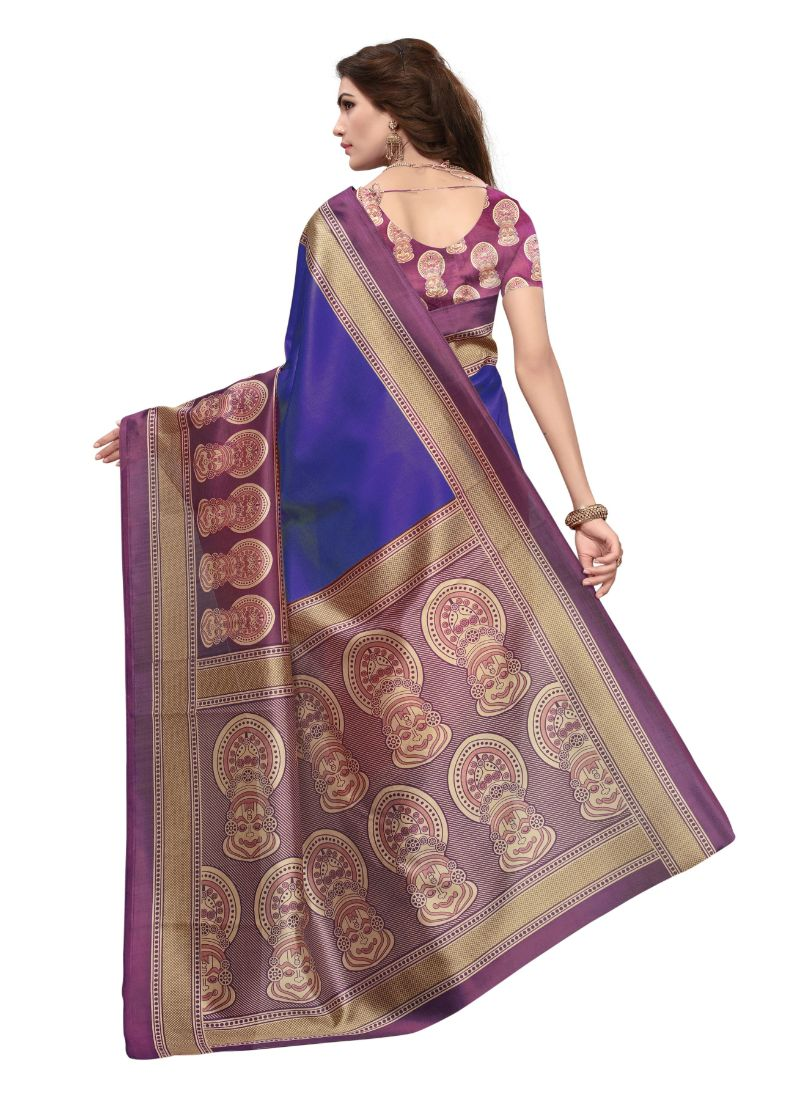 Women's Art Silk Saree (Blue And Purple, 5.5-6mtrs) B_25