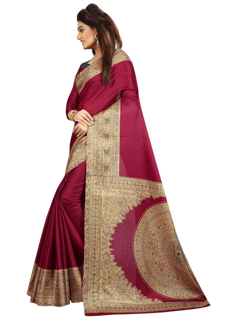 B_25 Women's Khadi Silk Saree (Wine, 5.5-6mtrs)