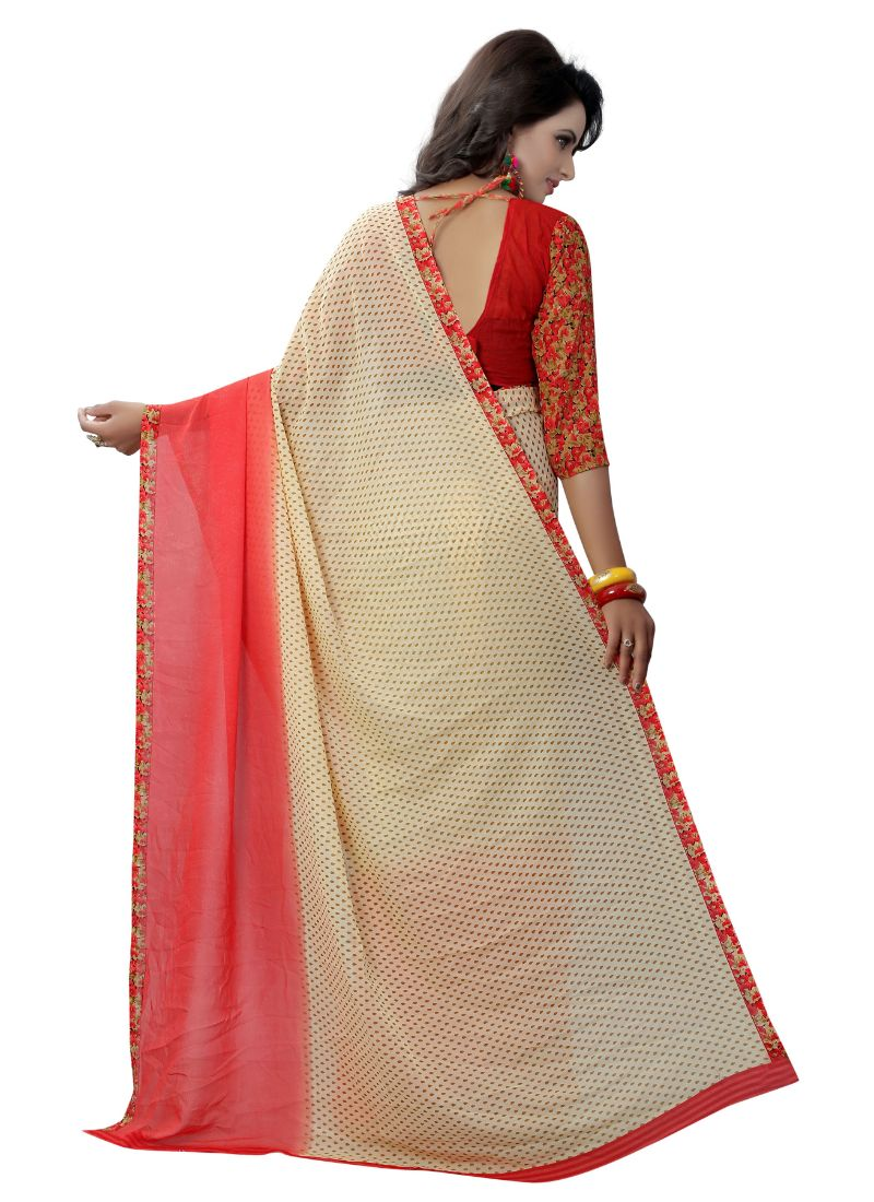 B_25 Women's Georgette Saree (Cream And Red, 5.5-6mtrs)