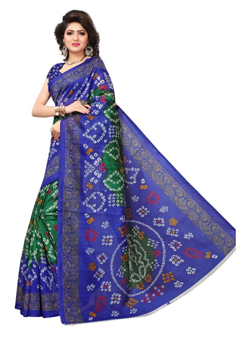 B_25 Women's Bhagalpuri Silk Saree (Blue And Green, 5.5-6mtrs)