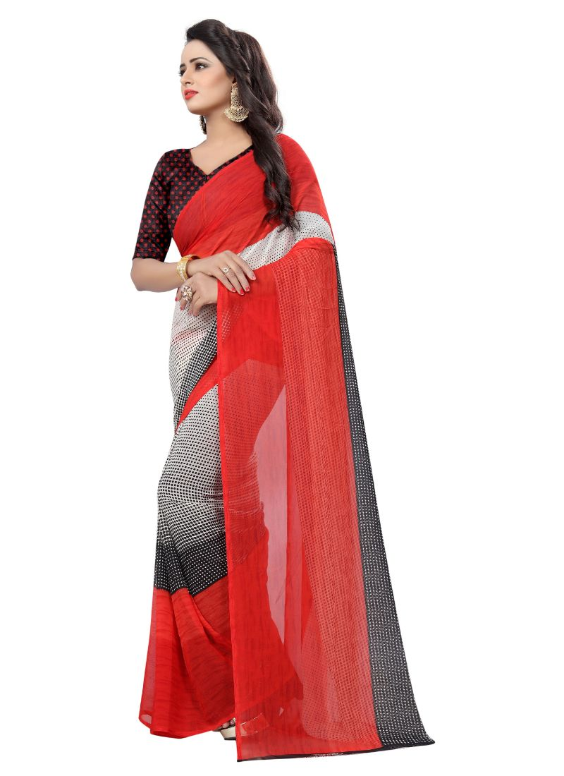 B_25 Women's Georgette Saree (Red And Black, 5.5-6mtrs)
