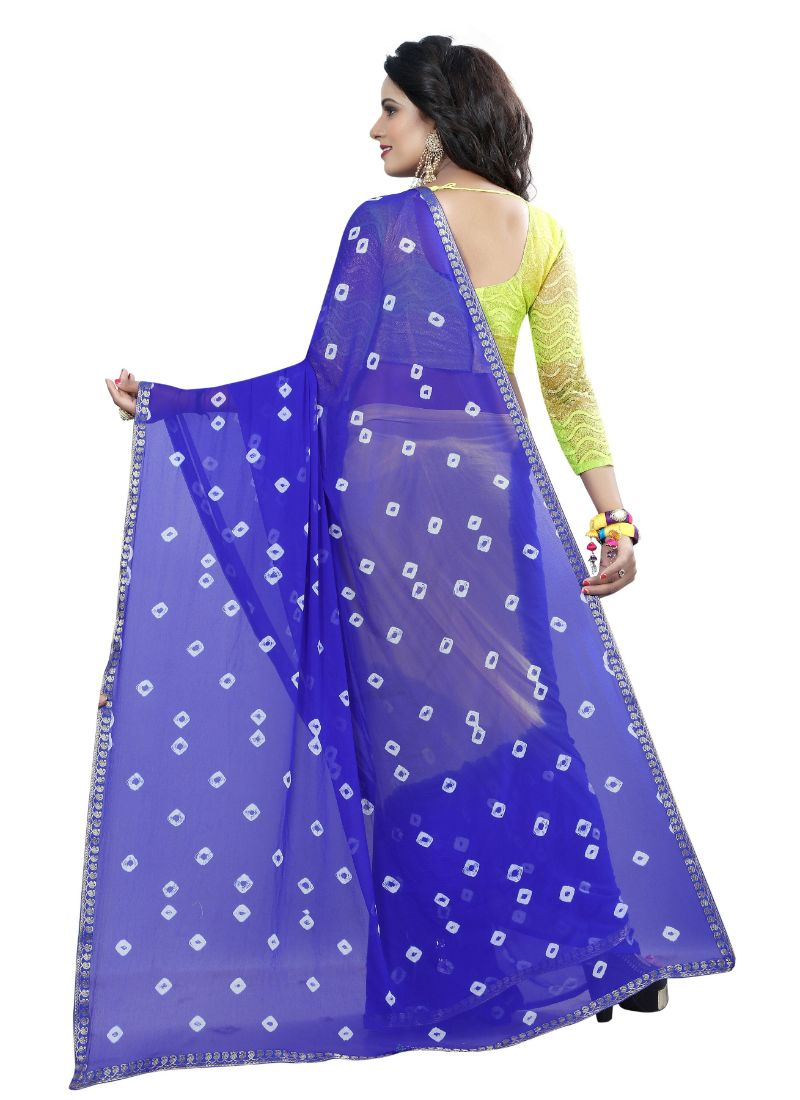 B_25 Women's Chiffon Saree (Blue And Yellow, 5.5-6mtrs)
