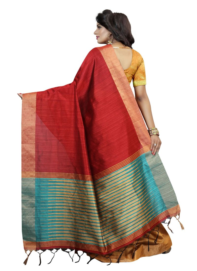 B_25 Women's Cotton Silk Saree (Red, 5.5-6mtrs)