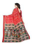 B_25 Women's Georgette Saree (Red, 5.5-6mtrs)