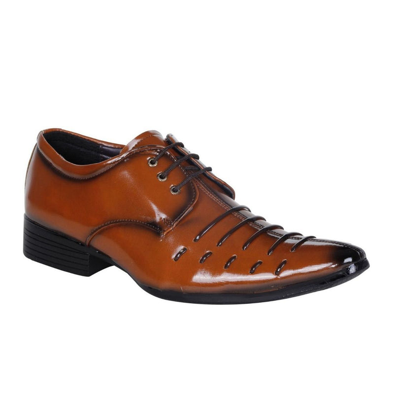 Men's Tan Brown Color Synthetic Leather Material  Casual Formal Shoes