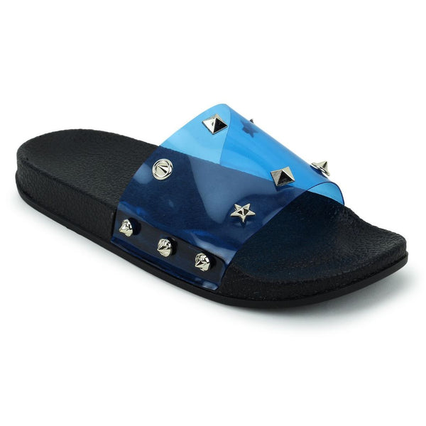 Women Navy Blue Color Synthetic Material  Casual Sliders