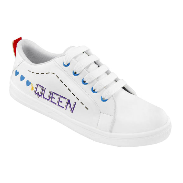 Women White,Blue Color Leatherette Material  Casual Sneakers