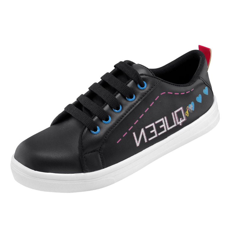 Women Black Color Leatherette Material  Casual Sneakers