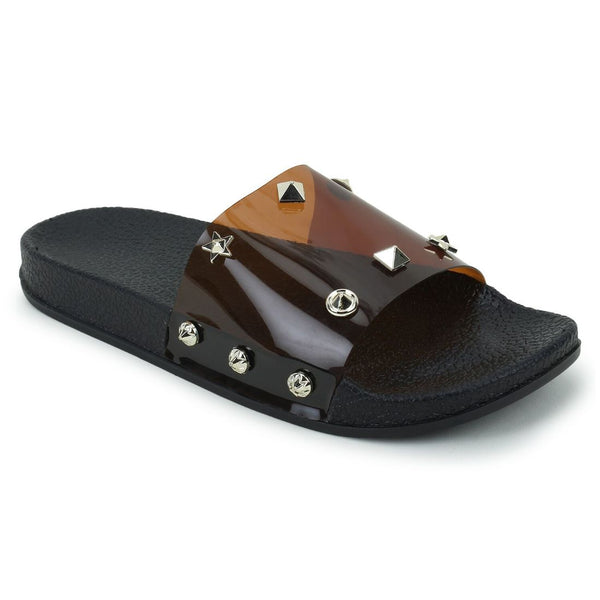 Women Brown Color Synthetic Material  Casual Sliders