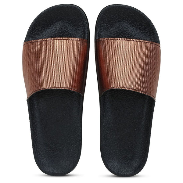 Women Bronze Color Synthetic Material  Casual Sliders