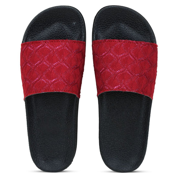 Women Red Pink Color Synthetic Material  Casual Sliders