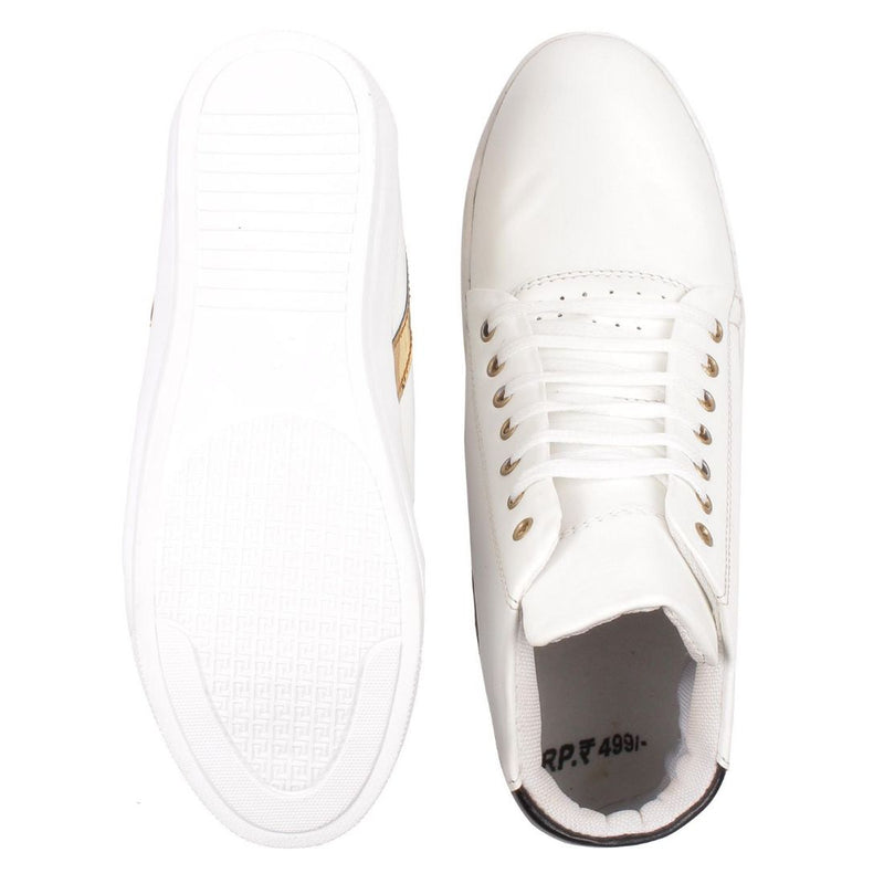 Men's White,Gold,Black Color Leatherette Material  Casual Sneakers