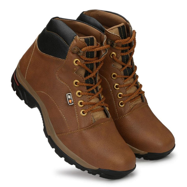 Men Tan,Brown Color Leatherette Material  Casual Boots