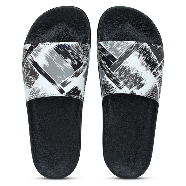 Women Black White Color Synthetic Material  Casual Sliders