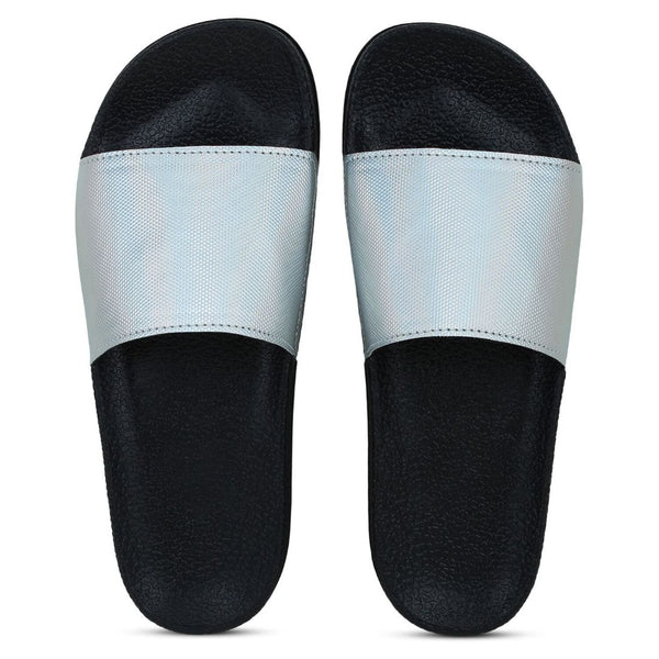 Women Silver Color Synthetic Material  Casual Sliders
